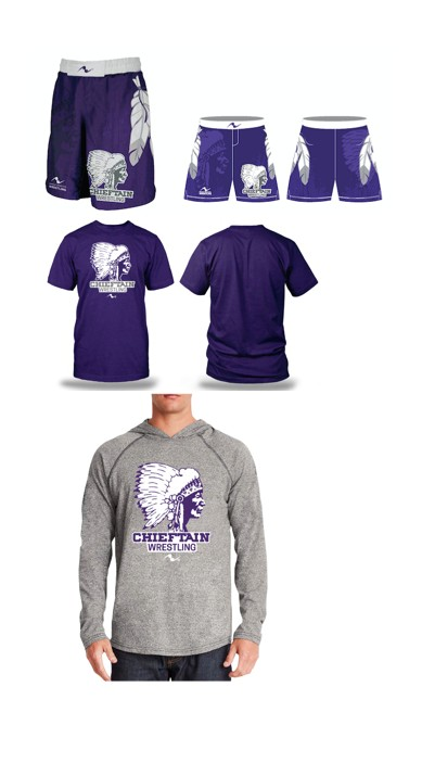 Logan Chieftains Wrestling 2017/2018 Package (Freestyle Short, T-Shirt, and LS Hooded Shirt)